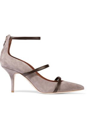 MALONE SOULIERS Leather-trimmed suede pumps