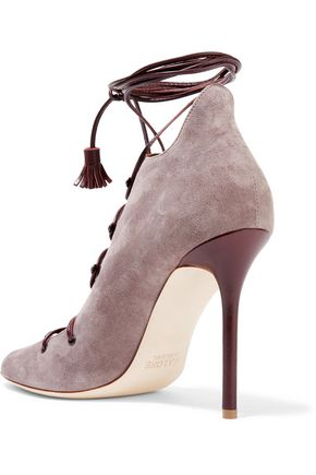 MALONE SOULIERS Savannah lace-up leather-trimmed suede sandals