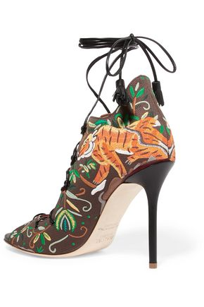 MALONE SOULIERS Savannah embroidered canvas sandals