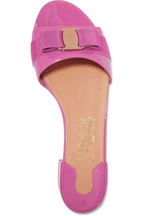 SALVATORE FERRAGAMO Gil bow-embellished patent-leather slides