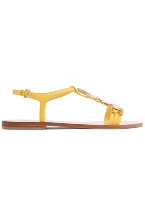 SALVATORE FERRAGAMO Gelso crystal-embellished textured-leather sandals