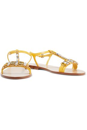 SALVATORE FERRAGAMO Gelso crystal-embellished textured-leather sandals