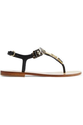 SALVATORE FERRAGAMO Gelsino crystal-embellished textured-leather sandals