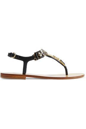 SALVATORE FERRAGAMO Gelsino crystal-embellished textured-leather sandals