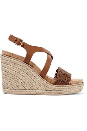 SALVATORE FERRAGAMO Smooth and laser-cut leather wedge sandals