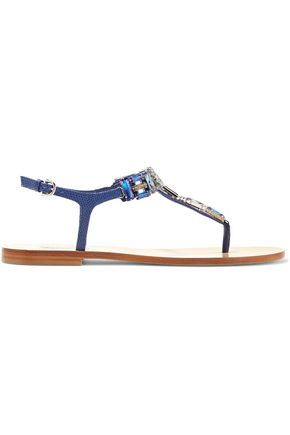 SALVATORE FERRAGAMO Gelsino crystal-embellished lizard-effect leather sandals