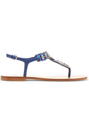 SALVATORE FERRAGAMO Gelsino crystal-embellished lizard-effect leather sandals