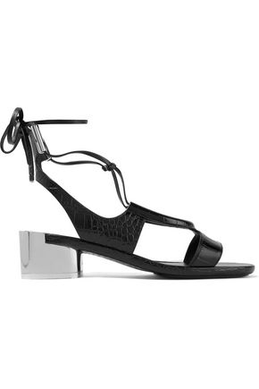 SALVATORE FERRAGAMO Glorja lace-up cutout croc-effect leather sandals