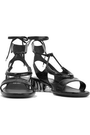 SALVATORE FERRAGAMO Glorja lace-up cutout croc-effect leather sandals