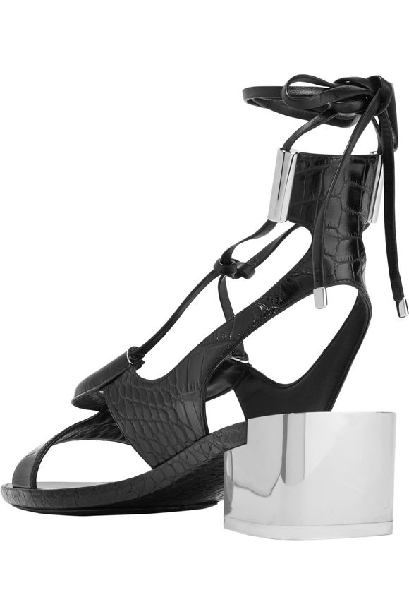 Glorja lace-up cutout croc-effect leather sandals | SALVATORE FERRAGAMO | Sale  up to 70% off | THE OUTNET