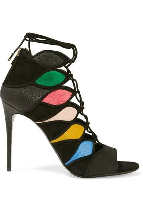 SALVATORE FERRAGAMO Felicity lace-up paneled suede and croc-effect leather sandals