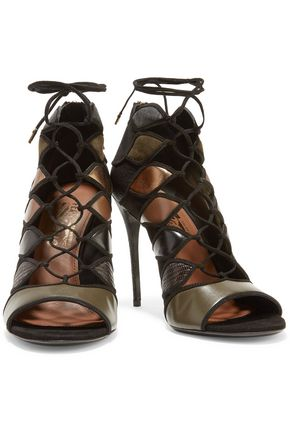 SALVATORE FERRAGAMO Felicity metallic paneled leather and suede sandals