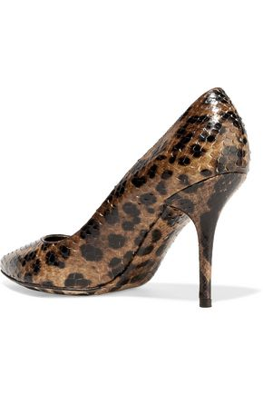 DOLCE & GABBANA Leopard-print snake-effect leather pumps