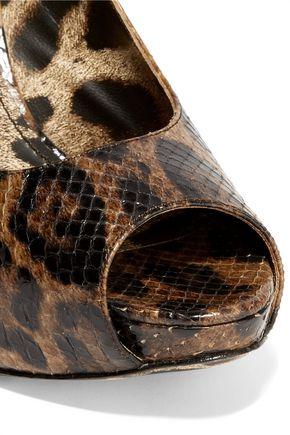 DOLCE & GABBANA Leopard-print python slingback pumps