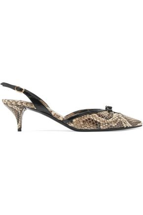 DOLCE & GABBANA Snake-effect leather slingback pumps