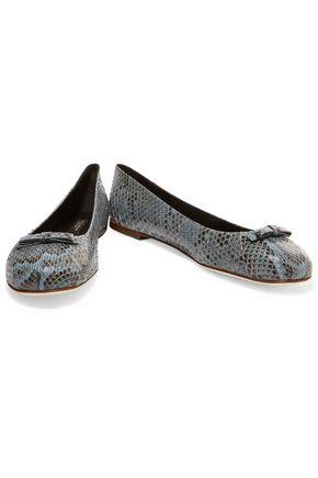 DOLCE & GABBANA Bow-embellished python ballet flats