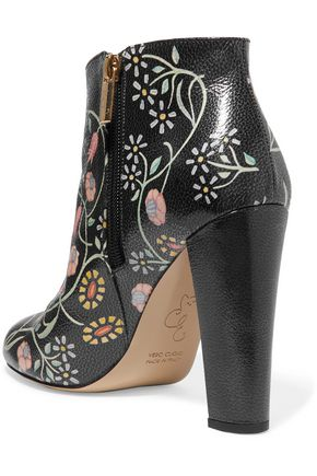 CAMILLA ELPHICK Printed textured-leather ankle boots