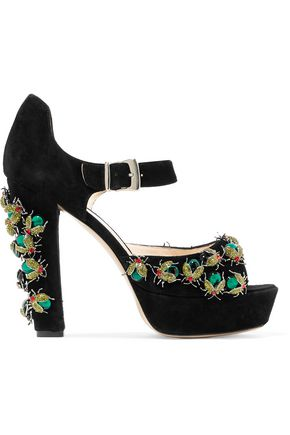 CAMILLA ELPHICK Don't Bug Me embellished suede platform sandals