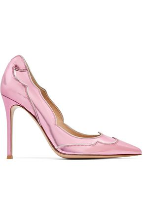 GIANVITO ROSSI Metallic scalloped glossed-leather pumps