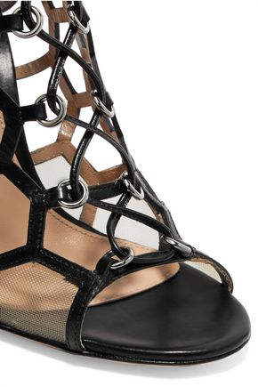 GIANVITO ROSSI Cutout lace-up leather sandals