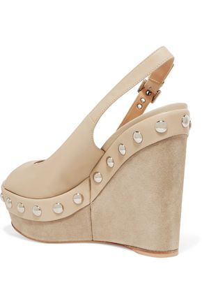 ... GIANVITO ROSSI Studded leather wedge sandals