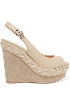GIANVITO ROSSI Studded leather wedge sandals