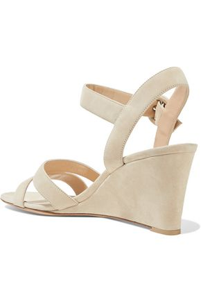 GIANVITO ROSSI Cutout suede wedge sandals