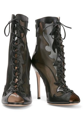 GIANVITO ROSSI Lace-up leather and mesh ankle boots