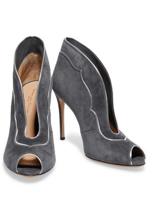 GIANVITO ROSSI Metallic leather-trimmed suede pumps