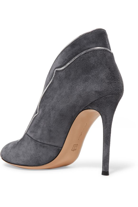 Metallic leather-trimmed suede pumps | GIANVITO ROSSI | Sale up to 70% off  | THE OUTNET
