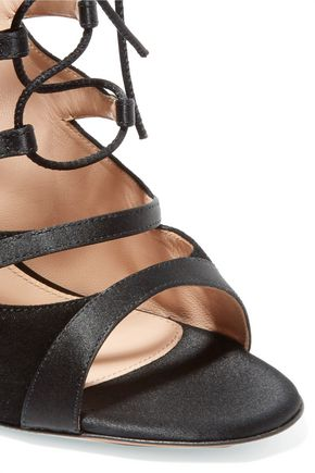 GIANVITO ROSSI Lace-up leather and suede sandals