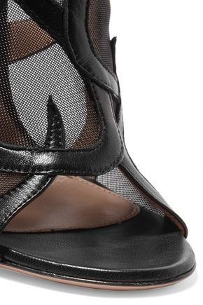 GIANVITO ROSSI Leather and mesh ankle boots