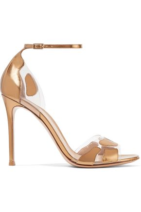 GIANVITO ROSSI Metallic glossed-leather and PVC sandals