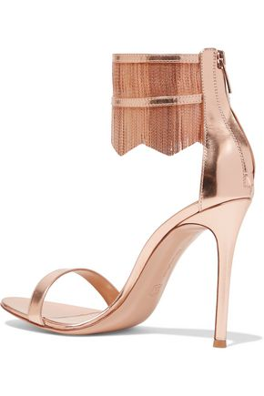 GIANVITO ROSSI Fringed chain-embellished metallic patent-leather sandals