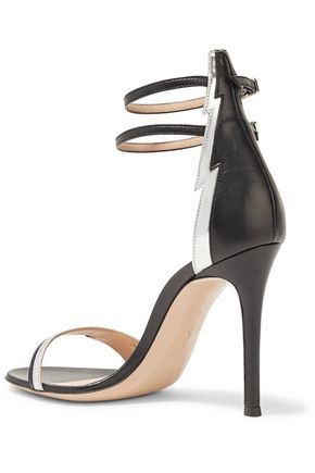 GIANVITO ROSSI Metallic patent leather-trimmed leather sandals