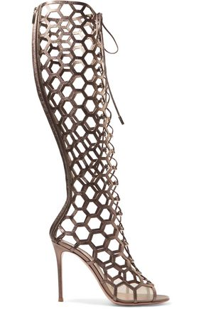 GIANVITO ROSSI Lace-up cutout textured-leather knee boots