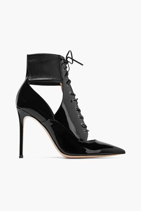 GIANVITO ROSSI Lace-up cutout stretch and patent-leather ankle boots
