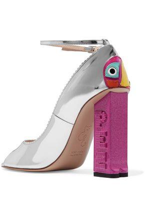 CAMILLA ELPHICK Party Parrot appliquéd metallic leather pumps