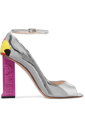 CAMILLA ELPHICK Party Parrot appliquéd metallic leather pumps