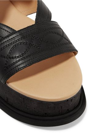 MM6 MAISON MARGIELA Cutout embroidered leather platform sandals