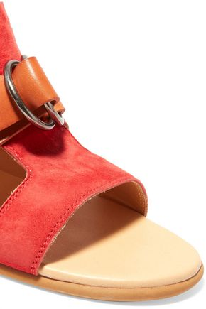 MM6 by MAISON MARGIELA Cutout leather and suede sandals