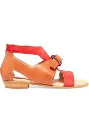 MM6 MAISON MARGIELA Cutout leather and suede sandals