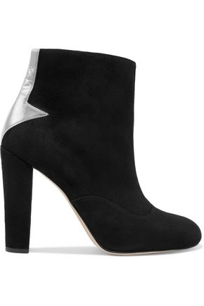 CAMILLA ELPHICK Silver Arrows leather-appliquéd suede ankle boots