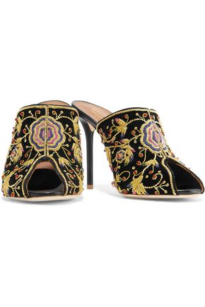 MALONE SOULIERS Dawn embellished velvet mules