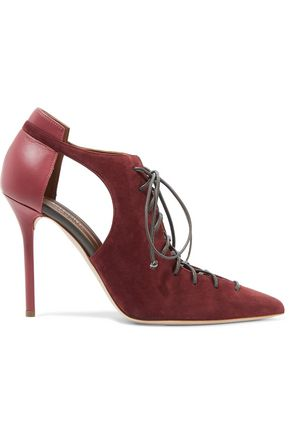 MALONE SOULIERS Montana lace-up suede and leather pumps