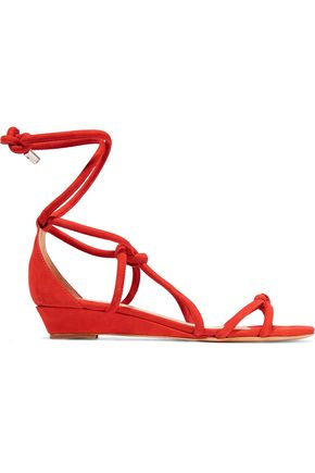 SCHUTZ Margarete lace-up suede wedge sandals