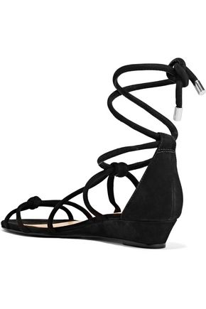 SCHUTZ Margarete knotted nubuck wedge sandals