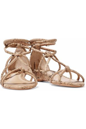 SCHUTZ Margarete knotted cork-effect leather wedge sandals