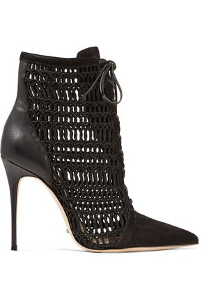 SCHUTZ Jolana paneled open-knit, suede and leather ankle boots