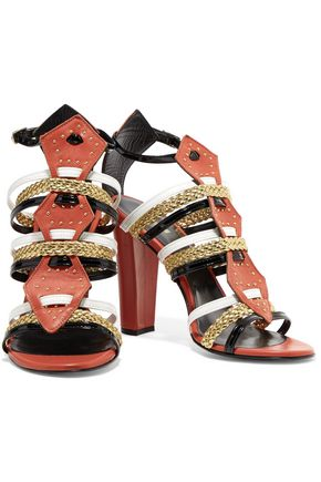 JUST CAVALLI Stud-embellished leather sandals